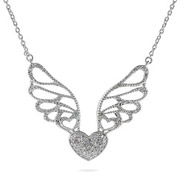 Sterling Silver CZ Winged Heart Necklace