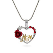 Sterling Silver Mom Pendant with Single Red Rose