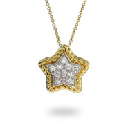 Designer Inspired Gold Cable CZ Star Pendant