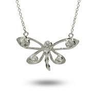 Tiffany Inspired Sterling Silver Five Stone CZ Dragonfly Necklace