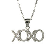 XOXO Hugs & Kisses CZ Sterling Silver Chat Pendant