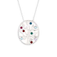 8 Stone Sterling Silver Custom Birthstone Family Tree Pendant