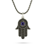 Sterling Silver Hamsa Pendant with Blue Crystal