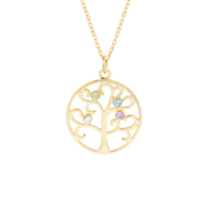 4 Stone Gold Vermeil Birthstone Family Tree Pendant
