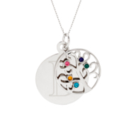 Engravable 5 Stone Sparkling Crystal Family Tree Pendant