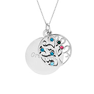 Engravable 6 Stone Sparkling Crystal Family Tree Pendant