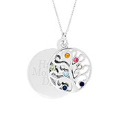 Engravable 7 Stone Sparkling Crystal Family Tree Pendant
