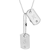 Designer Inspired Engravable Petite CZ Double Dog Tag Pendant