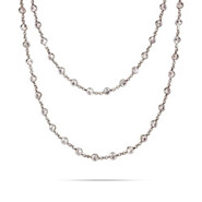 Tiffany Inspired Strand of Diamonds Sterling Silver CZ Necklace