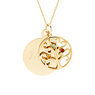 Engravable 3 Stone Gold Vermeil Birthstone Family Tree Pendant