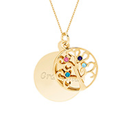 Engravable 4 Stone Gold Vermeil Birthstone Family Tree Pendant