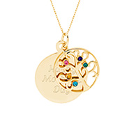Engravable 5 Stone Gold Vermeil Birthstone Family Tree Pendant