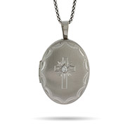 Engravable Sterling Silver Oval Photo Locket with Cross