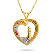 6 Stone Gold Vermeil Custom Birthstone Lighthouse Pendant