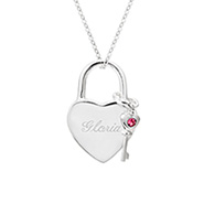 Austrian Crystal Locked Heart & Key Birthstone Pendant