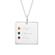 Close to the Heart 3 Stone Sterling Silver Square Tag Pendant
