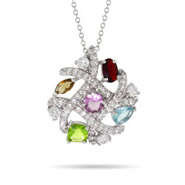 Designer Inspired Multi Color Criss Cross CZ Pendant