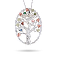 Black Hills Gold On Sterling Silver 5 Stone Genuine Birthstone Family Tree Pin-Pendant