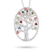 Black Hills Gold On Sterling Silver 6 Stone Genuine Birthstone Family Tree Pin/Pendant