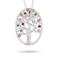 Black Hills Gold On Sterling Silver 7 Stone Genuine Birthstone Family Tree Pin/Pendant