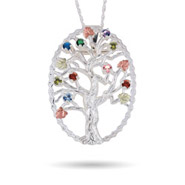 Black Hills Gold On Sterling Silver 9 Stone Genuine Birthstone Family Tree Pin/Pendant