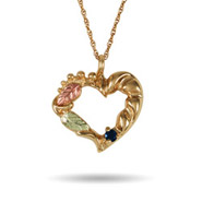 Black Hills Gold 10K Gold 1 Stone Genuine Birthstone Heart Pendant