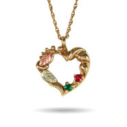 Genuine Black Hills Gold 10K Gold 2 Stone Genuine Birthstone Heart Pendant