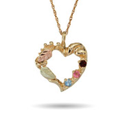 Black Hills Gold 10K Gold 3 Stone Genuine Birthstone Heart Pendant