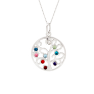 9 Stone Custom Birthstone Family Tree Pendant