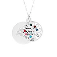 Engravable 9 Stone Custom Birthstone Family Tree Pendant