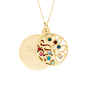 Engravable 9 Stone Gold Vermeil Custom Birthstone Family Tree Pendant