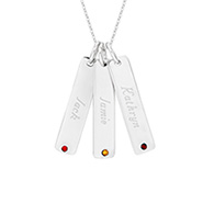 Close to the Heart Sterling Silver Triple Birthstone Tag Pendant