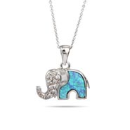 Sterling Silver Opal and CZ Elephant Pendant