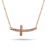 Rose Gold Curved CZ Sideways Cross Necklace