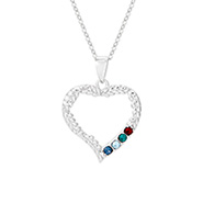 4 Stone Birthstone Heart Mother's Pendant in Vine Design