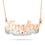 Rose Gold Vermeil Loving Hands Birthstone Nameplate Necklace