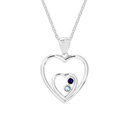 Two Hearts 2 Stone Austrian Crystal Couples Birthstone Pendant