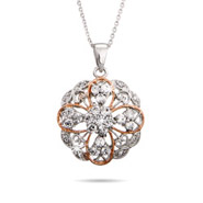 Elegant Ornate Style CZ Rose Gold Accent Pendant