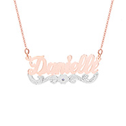Birthstone Flower Rose Gold Vermeil and Sterling Silver Nameplate Necklace