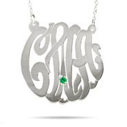Sterling Silver Large Custom Monogram Necklace with Birthstone