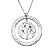 3 Stone Personalized Birthstone Crystal Family Tree Pendant