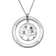 4 Stone Personalized Birthstone Crystal Family Tree Pendant