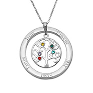 5 Stone Personalized Birthstone Crystal Family Tree Pendant