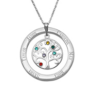 6 Stone Personalized Birthstone Crystal Family Tree Pendant