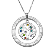 9 Stone Personalized Birthstone Crystal Family Tree Pendant