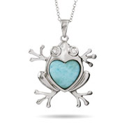 Sterling Silver Larimar and CZ Loving Frog Pendant