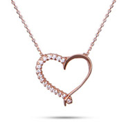 Rose Gold Vermeil CZ Heart Pendant