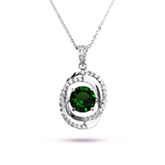 Sterling Silver Floating Emerald CZ Necklace