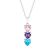 3 Stone Custom Birthstone Heart Drop Mother's Pendant