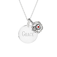 Engravable Sterling Silver Round Tag with Filigree Birthstone Heart Pendant
